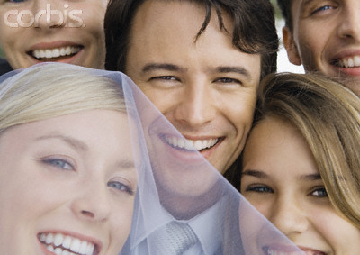 Bride and Groom with Friends, Close-Up of Faces